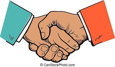 symbol, kontrakt, samarbejde, aftalen, venskab, kompagniskab