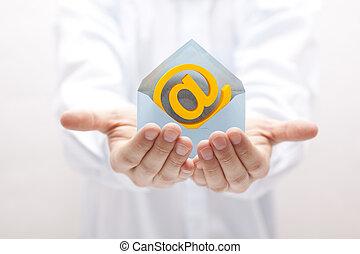 symbol, konvolut, email, hænder