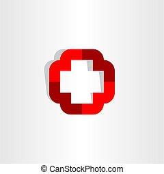 symbol, kors, element, vektor, logo, medicinsk, ikon