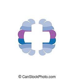 symbol, kors, hjerne, vektor, logo, medicinsk, ikon