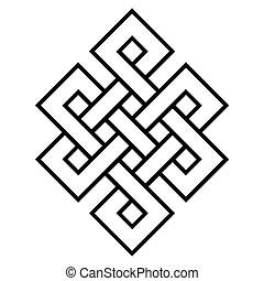 symbol, kulturell, buddhismus, knoten, endlos