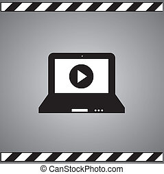 symbol laptop and play button