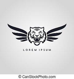 symbol, logotype, tiger, temat, logo, lotnik