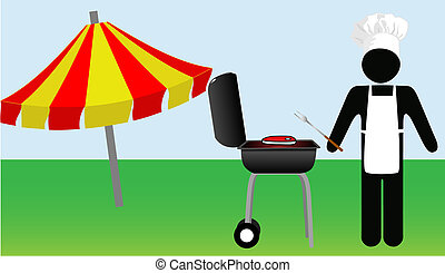 Symbol Man chef Cooks Out on Barbecue - Symbol Man chef...