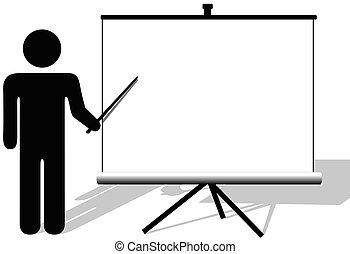 Symbol man points to copyspace on presentation on movie...