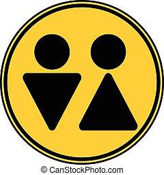 symbol, mandlig, button., kvindelig, hvile rum