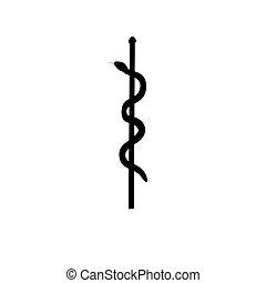 Symbol medicine silhouette ancient mythology fantasy. Vector...