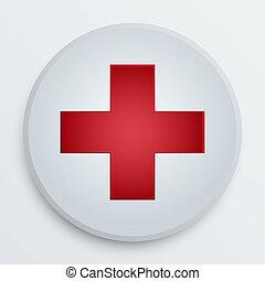 symbol, medicinsk, vektor, hjælpemiddel, knap, først
