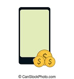 symbol, monety, smartphone