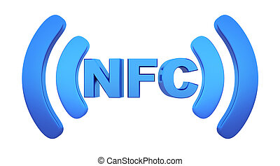 Symbol near field communication (NFC). 3d illustration