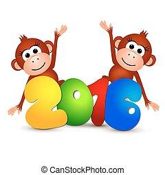 Symbol New Year 2016, Monkey. Postcard Happy New Year 2016 Year