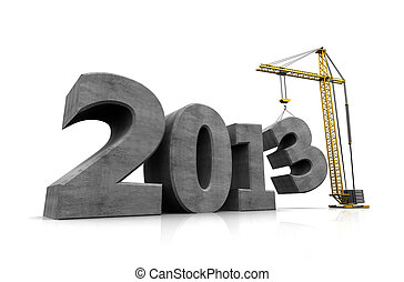 Number of new year with crane holding three