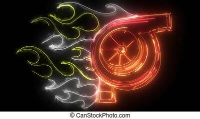 symbol, ożywienie, video, turbocharger, samochód