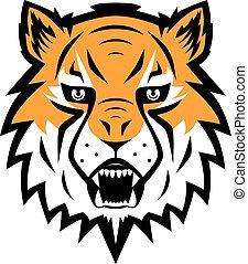 symbol, odizolowany, ilustracja, tiger, maskotka, wektor, drużyna, logo, sport, ikona