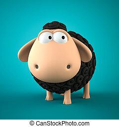 Symbol of 2015. Black Sheep on blue background. Illustration of