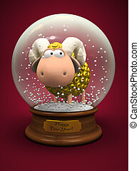 Symbol of 2015. Gold Sheep in snow ball