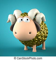 Symbol of 2015. Gold Sheep on blue background. Illustration...