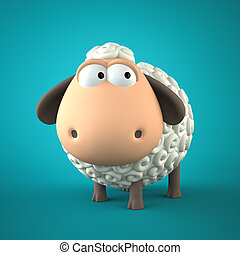 Symbol of 2015. Sheep on blue background. Illustration of 2015 y