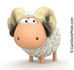 Symbol of 2015. Sheep on white background. Illustration of 2015