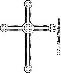 Symbol of a church cross. Christianity religion symbol. Line style