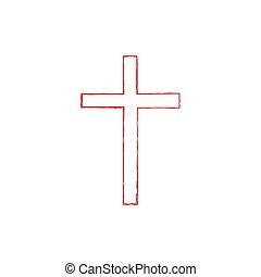 Symbol Of A Church Cross. Christianity Religion Symbol Vector icon.