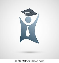 Symbol of a successful person. Abstract vector.