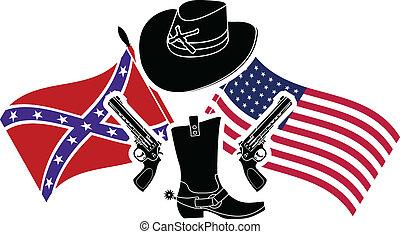 symbol of american civil war. stencil
