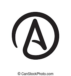 Symbol of Atheism: letter A in circle. Simple black and...