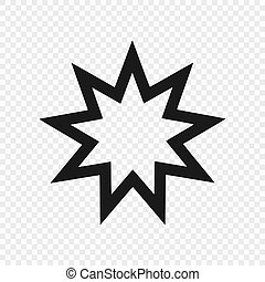 Nine pointed star - Symbol of Bahai Faith / Bahaism. Vector illustration