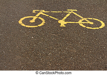 symbol of bike on the background of the cement.