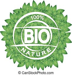 Symbol of bio and green leaves
