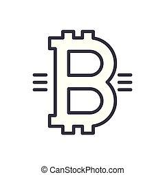 Symbol of bitcoin black icon concept. Symbol of bitcoin flat vector symbol, sign, illustration.