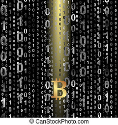 bitcoin - symbol of bitcoin on digital background