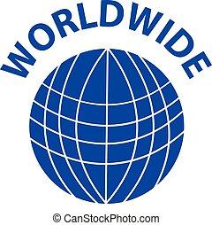 Symbol of blue world on white background