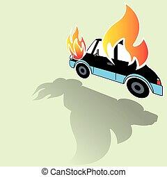 burning car crash icons posed on its side