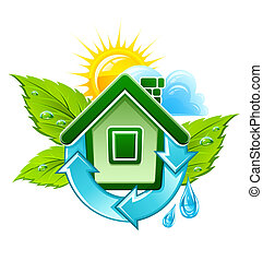 symbol of ecological house illustration, isolated on white...