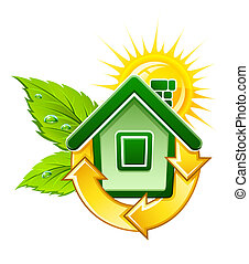 symbol of ecological house with solar energy illustration, isolated on white background