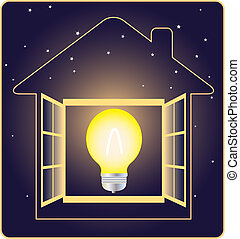 symbol of electricity and energy with stars on dark background