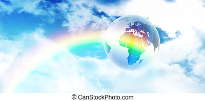 symbol of environmental protection - blue planet on the...