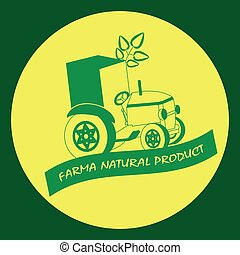 Symbol of farm natural product. Label on the circle.