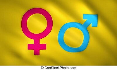 Symbol of female and male gender on the flag