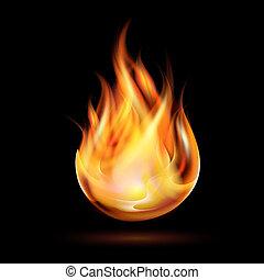 Symbol of fire on dark background. Vector illustration