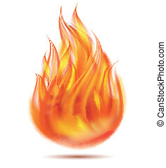 Symbol of fire on white background. Vector illustration
