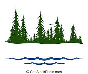 Symbol of forest with lake.