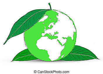 Symbol of globe with the plant