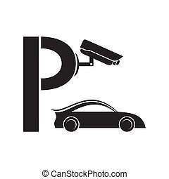 Symbol of guarded parking - Black symbol of guarded parking...