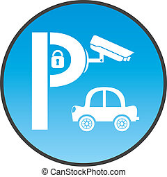 Symbol of guarded parking with car, padlock and security camera