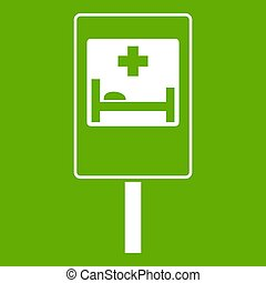 Symbol of hospital road sign icon green
