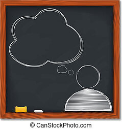 Symbol of human with speech bubble on blackboard