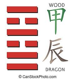 Symbol of i ching hexagram from chinese hieroglyphs....